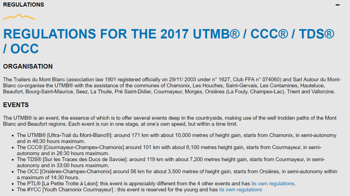 UTMB 2017 REGULATIONS FOUR EVENTS