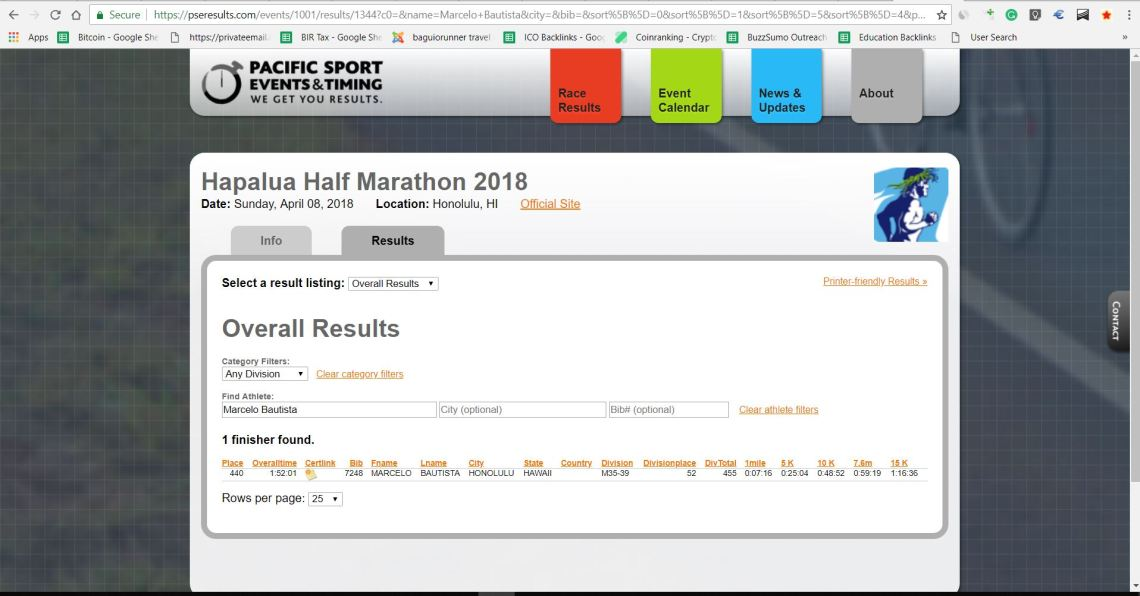 Hapalua Half Marathon 8 April 2018 - Marcelo Bautista 440 out of 7289